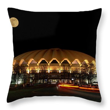 night and moon WVU basketball arena Throw Pillow by Dan Friend