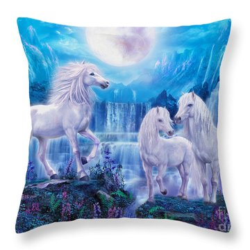Night Horses Throw Pillow by Jan Patrik Krasny