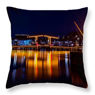 Night Lights On The Amsterdam Canals 1. Holland Throw Pillow by Jenny Rainbow