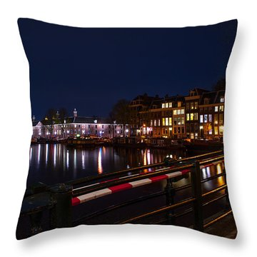 Night Lights On The Amsterdam Canals 5. Holland Throw Pillow by Jenny Rainbow