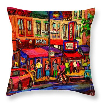 Night Riders On The Boulevard Rue St Laurent And Napoleon Deli Schwartz Montreal Midnight City Scene Throw Pillow by Carole Spandau