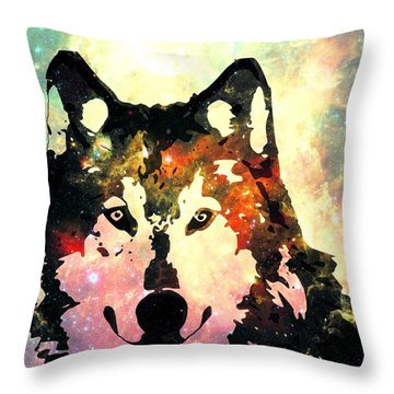 Night Wolf Throw Pillow by Anastasiya Malakhova