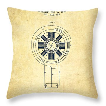 Nikola Tesla Patent Drawing From 1889 - Vintage Throw Pillow by Aged Pixel