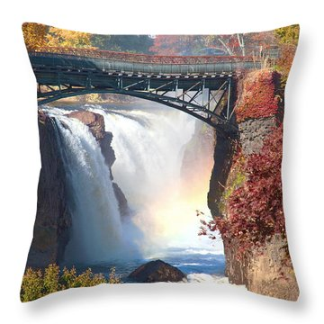 Nj Great Falls In Autumn Throw Pillow by Regina Geoghan