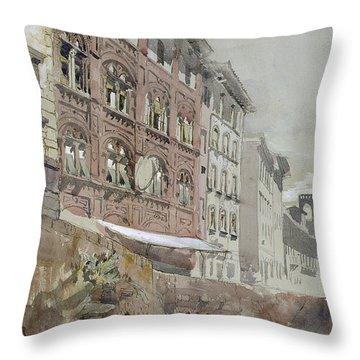 No.1590 Palazzo Agostini, Pisa, 1845 Throw Pillow by John Ruskin