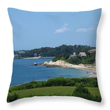 Nobska Beach Throw Pillow by Barbara McDevitt