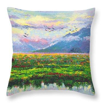 Nomad - Alaska Landscape With Joe Redington's Boat In Knik Alaska Throw Pillow by Talya Johnson