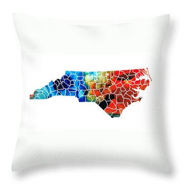 North Carolina - Colorful Wall Map By Sharon Cummings Throw Pillow by Sharon Cummings