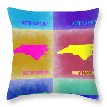 North Carolina Pop Art Map 2 Throw Pillow by Naxart Studio