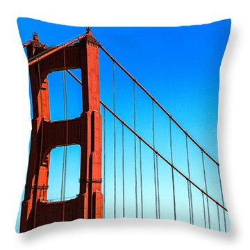 North Tower Golden Gate Throw Pillow by Garry Gay