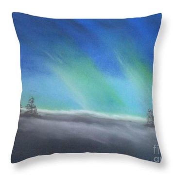 Northern Lights Throw Pillow by Tracey Williams