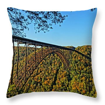Northwest View Of Gorge Bridge Throw Pillow by Timothy Connard