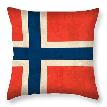 Norway Flag Distressed Vintage Finish Throw Pillow by Design Turnpike