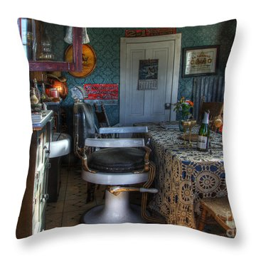 Nostalgia Barber Shop Throw Pillow by Bob Christopher