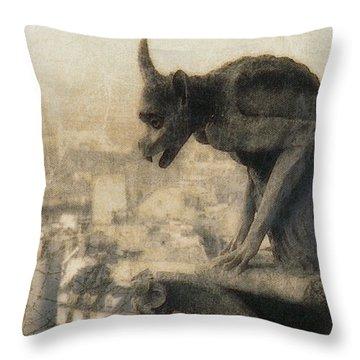 Notre Dame Cathedral Gargoyle Throw Pillow by Douglas MooreZart