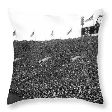 Notre Dame-usc Scoreboard Throw Pillow by Underwood Archives