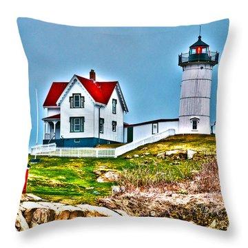 Nubble Lighthouse Cape Neddick Maine 2 Throw Pillow by Glenn Gordon