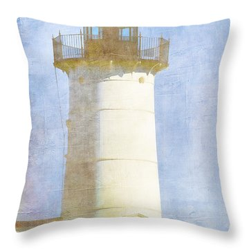 Nubble Lighthouse Throw Pillow by Carol Leigh