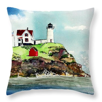 Nubble Lighthouse Throw Pillow by Tom Riggs