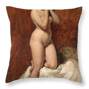 Nude From The Front Throw Pillow by William Etty