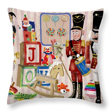 Nutcracker And Friends Throw Pillow by Arline Wagner
