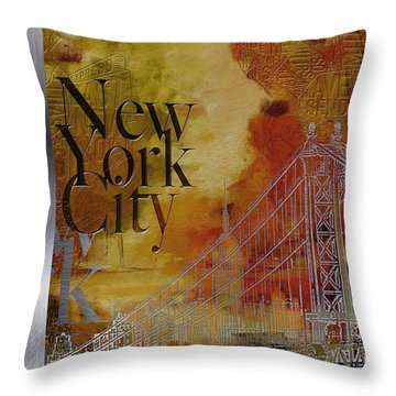 Ny City Collage - 6 Throw Pillow by Corporate Art Task Force