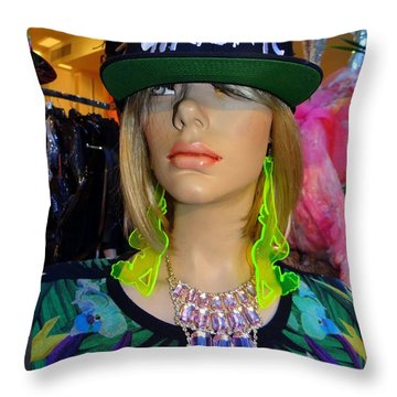 Nyc Girl Throw Pillow by Ed Weidman