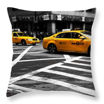 Nyc  Yellow Cab - Cki Throw Pillow by Hannes Cmarits