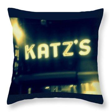 Nyc's Famous Katz's Deli Throw Pillow by Paulo Guimaraes