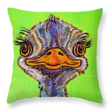 O For Ostrich Throw Pillow by Ella Kaye Dickey