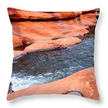 Oak Creek At Slide Rock Throw Pillow by Carol Groenen