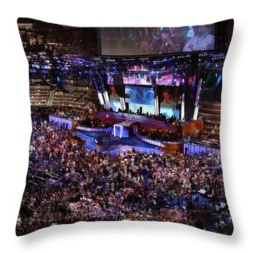 Obama And Biden At 2008 Convention Throw Pillow by Stephen Farley