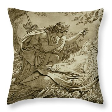 Oberon And Titania Throw Pillow by English School
