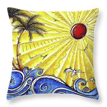 Ocean Fury By Madart Throw Pillow by Megan Duncanson