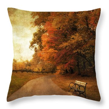 October Tones Throw Pillow by Jessica Jenney