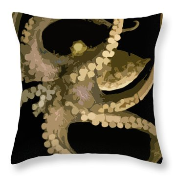 Octopus In Flight Throw Pillow by George Pedro