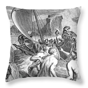 Odysseus Escapes Charms Of The Sirens Throw Pillow by Photo Researchers