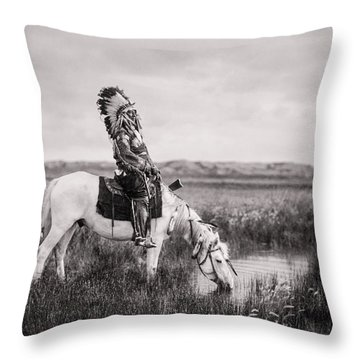 Oglala Indian Man Circa 1905 Throw Pillow by Aged Pixel