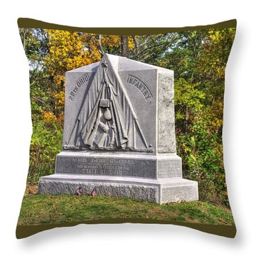 Ohio At Gettysburg - 29th Ohio Volunteer Infantry Autumn Mid-afternoon Culp's Hill Throw Pillow by Michael Mazaika