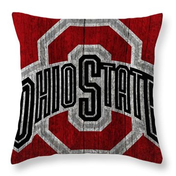 Ohio State University On Worn Wood Throw Pillow by Dan Sproul