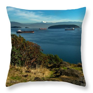 Oil Tankers Waiting Throw Pillow by Robert Bales