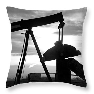Oil Well Pump Jack Black And White Throw Pillow by James BO  Insogna