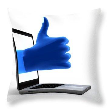 Okay Gesture Blue Hand From Screen Throw Pillow by Michal Bednarek