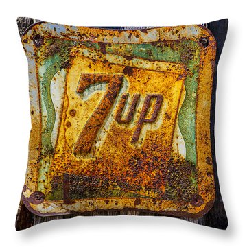 Old 7 Up Sign Throw Pillow by Garry Gay