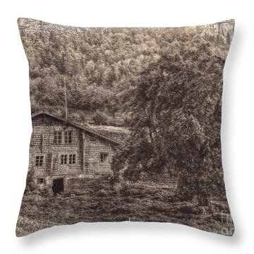 Old And Abandoned - Sepia Throw Pillow by Hanny Heim