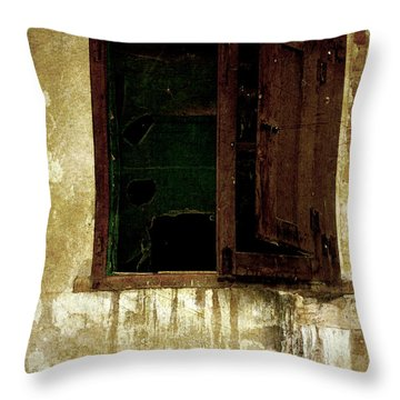 Old And Decrepit Window Throw Pillow by RicardMN Photography