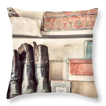 Old Boots And Boxes - On The Shelves Of A 19th Century General Store Throw Pillow by Gary Heller
