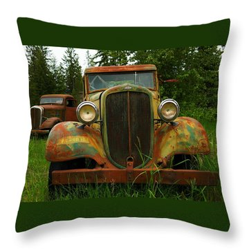 Old Cars Left To Decorate The Weeds Throw Pillow by Jeff Swan