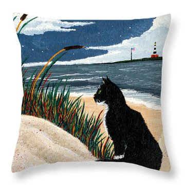 Old Cat And The Sea Throw Pillow by Edward Fuller