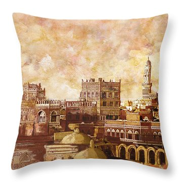 Old City Of Sanaa Throw Pillow by Catf